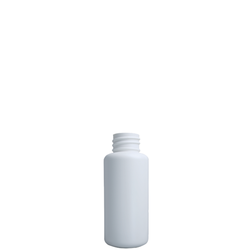 Cylindrical bottle 100 ml HDPE/COEX, neck DIN25, style ZANZIBAR