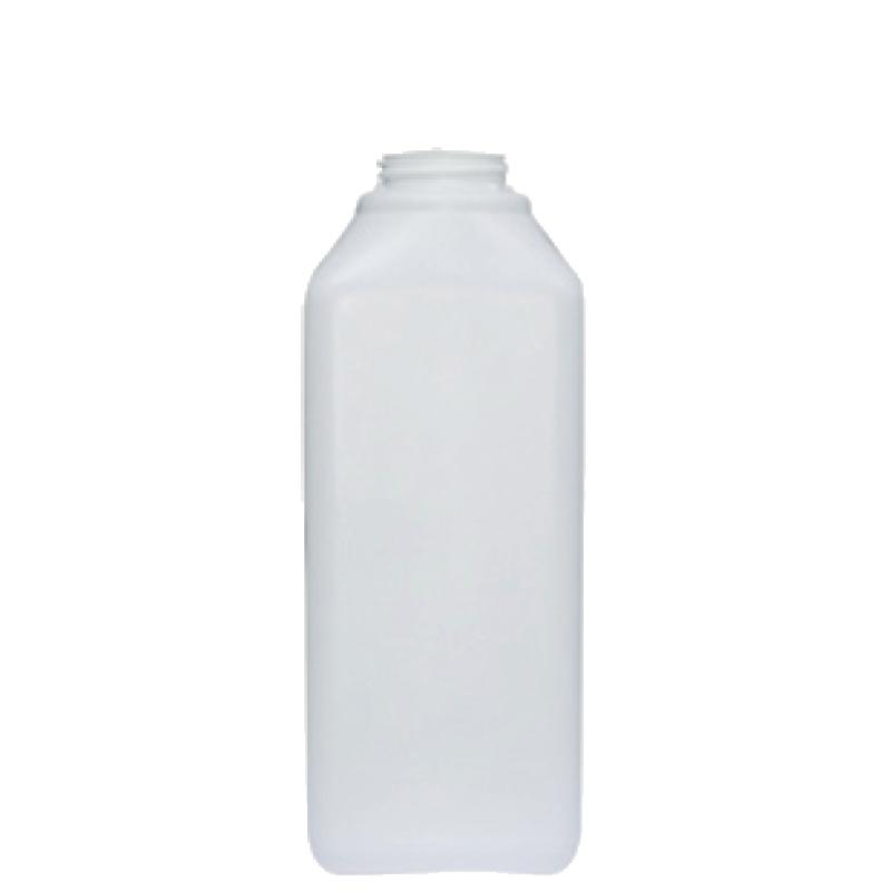 Rectangular bottle 1 lt HDPE, neck 42mm, style FLOREANA