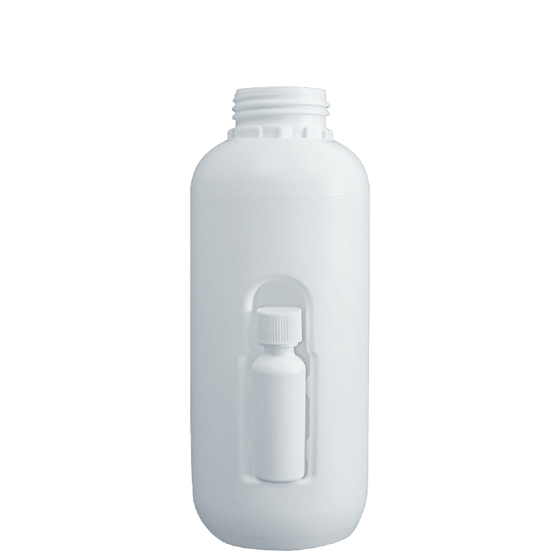 Cylindrical bottle with hole 1lt HDPE/COEX, neck DIN50TI, style ZANZIBAR