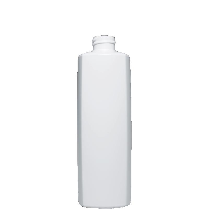 Flacone quadrato 500 ml HDPE/PP, collo 24/410, linea DAMASCO