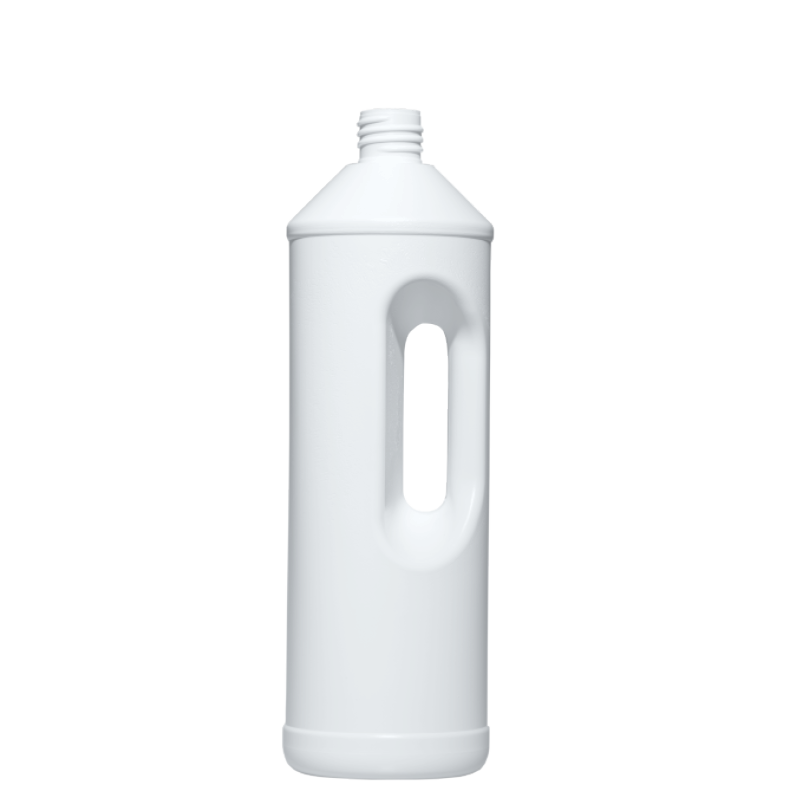 Bottle with handle 1 lt HDPE, neck 28 mm, style HOUSEHOLD