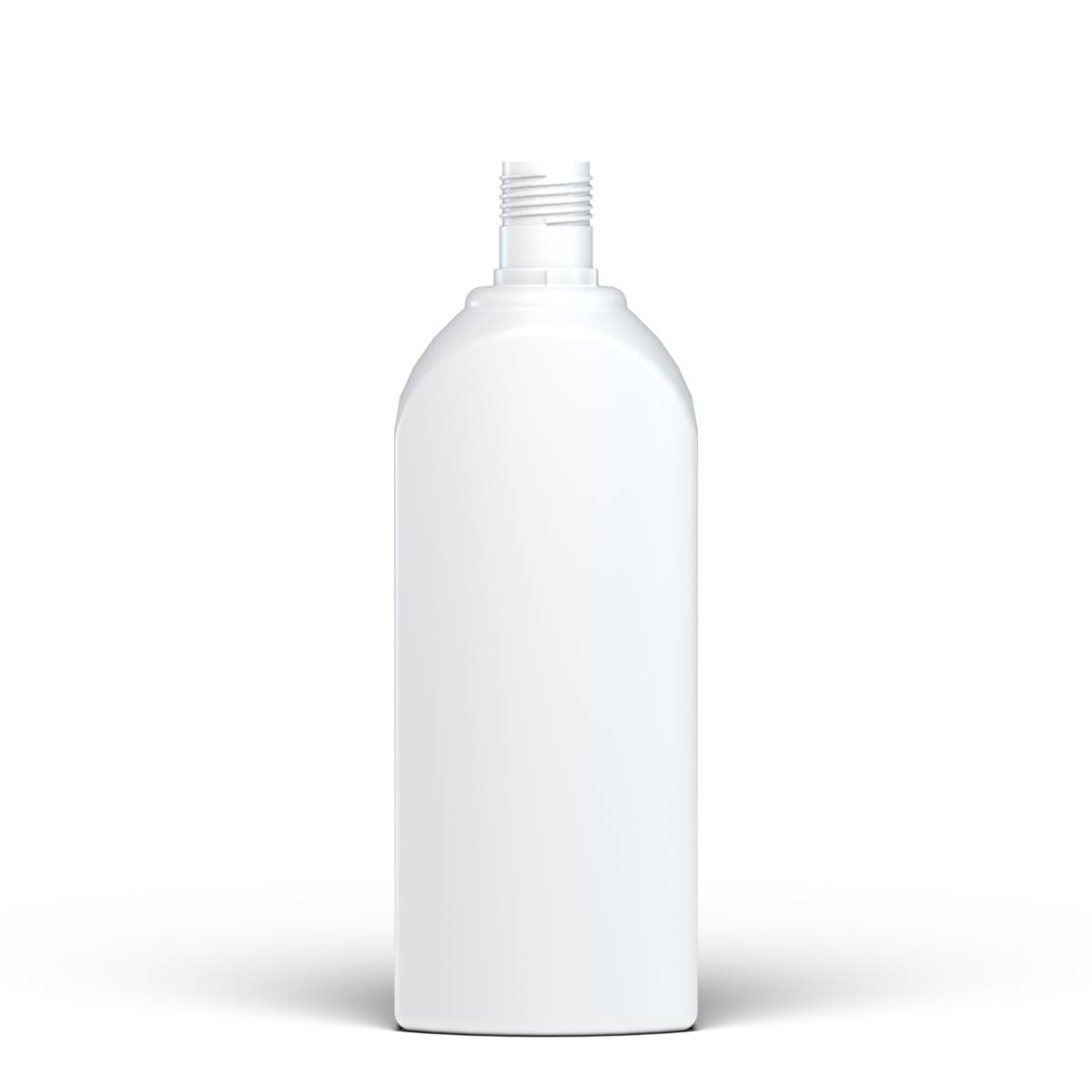 Rectangular bottle curved shoulder 1 lt HDPE, neck 30mm, style FLOREANA