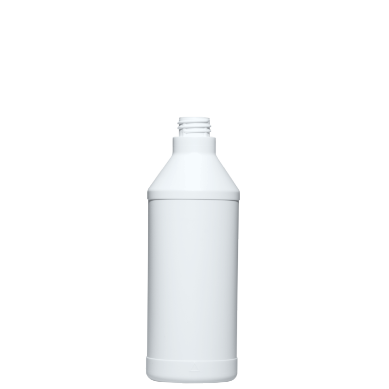 Cylindrical bottle 650 ml HDPE, neck 28/410 for trigger, style ANTIGUA