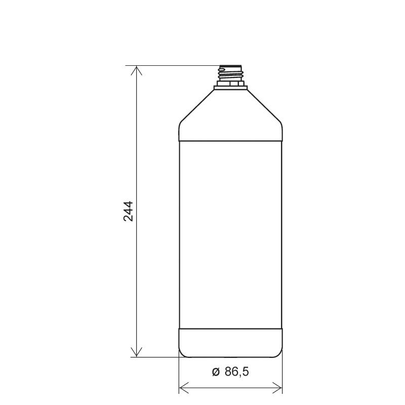 Flacone cilindrico 1 lt HDPE, collo 22TE, linea ANTIGUA (Disegno)