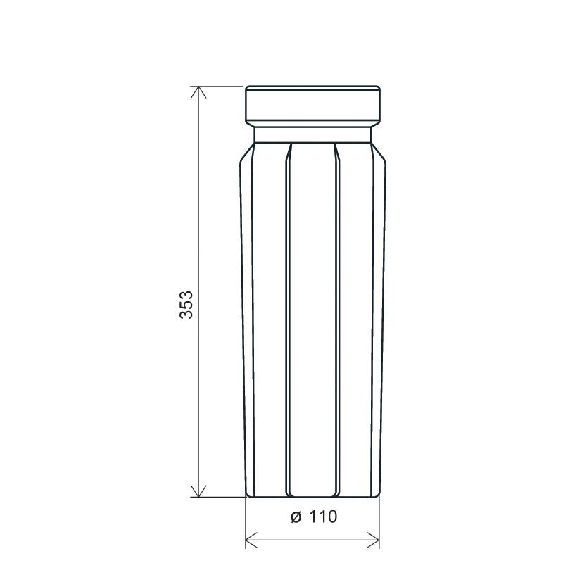 Flacone sacca operatoria 1000 ml LPDE, linea BASILEA (Disegno)