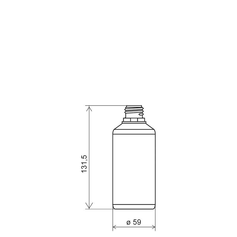 Flacone cilindrico 250 ml HDPE, collo 28TE, linea ANTIGUA (Disegno)