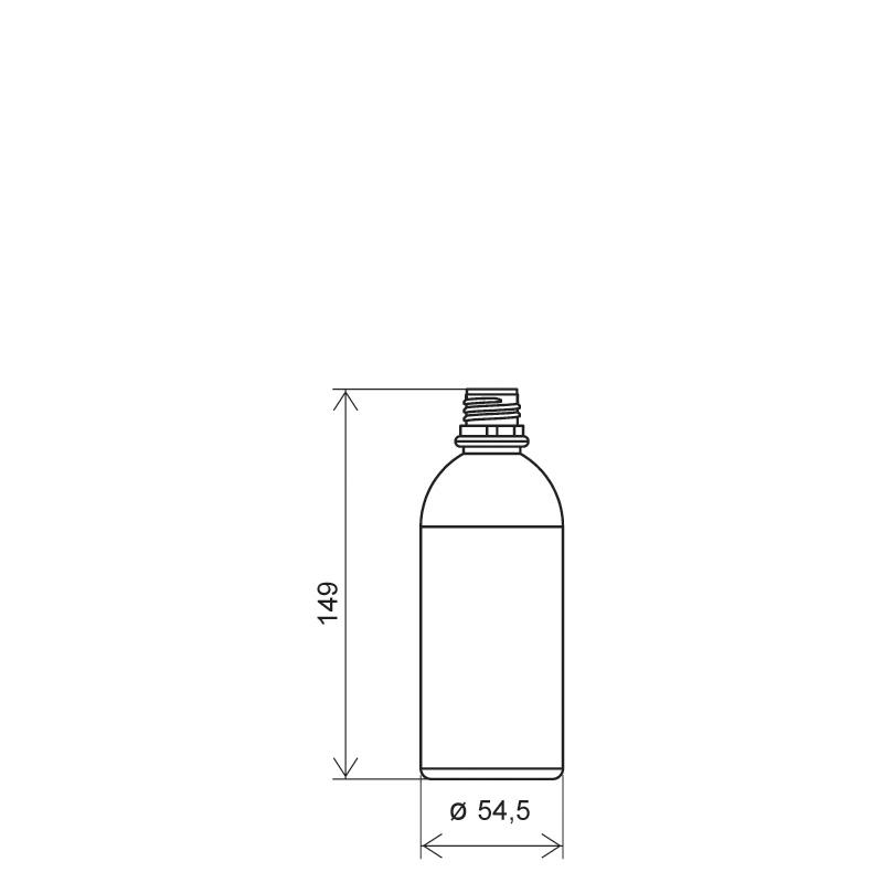 Flacone circolare 250 ml PVC, collo 22 mm, linea BERNA (Disegno)
