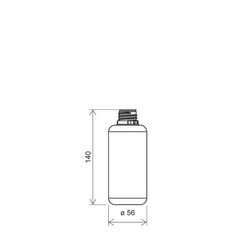 Flacone circolare 250 ml HDPE, collo 28TE, linea BERNA (Disegno)