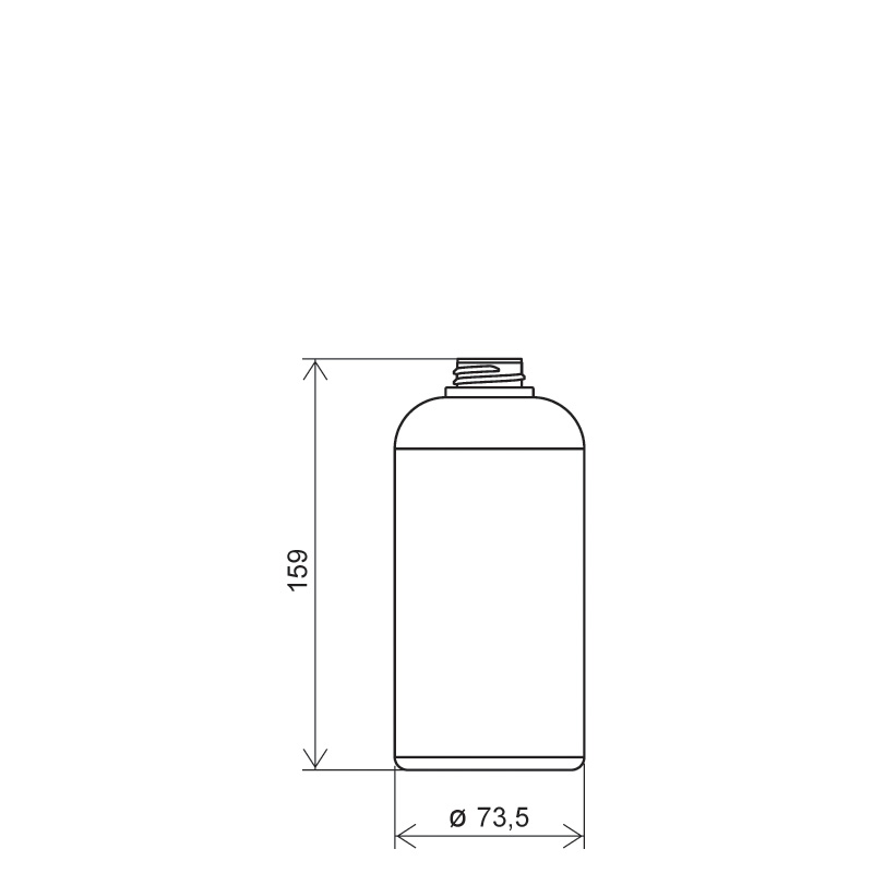 Flacone circolare spalla raggiata 500 ml HDPE, collo 28/400, linea TALLIN (Disegno)