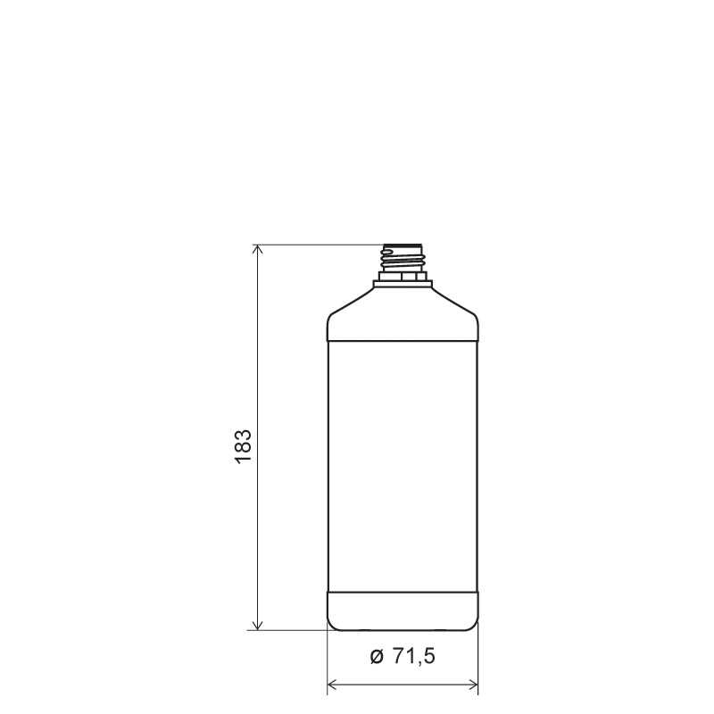 Flacone cilindrico 500 ml HDPE, collo 22TE, linea ANTIGUA (Disegno)