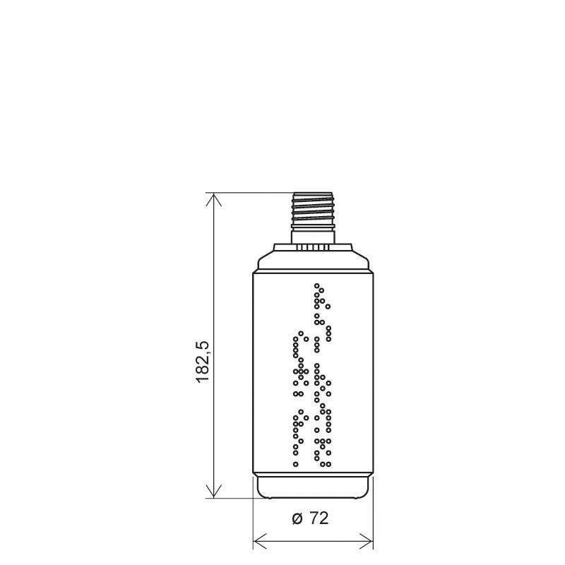 Flacone circolare 500 ml HDPE, collo 24 mm, linea BERNA (Disegno)
