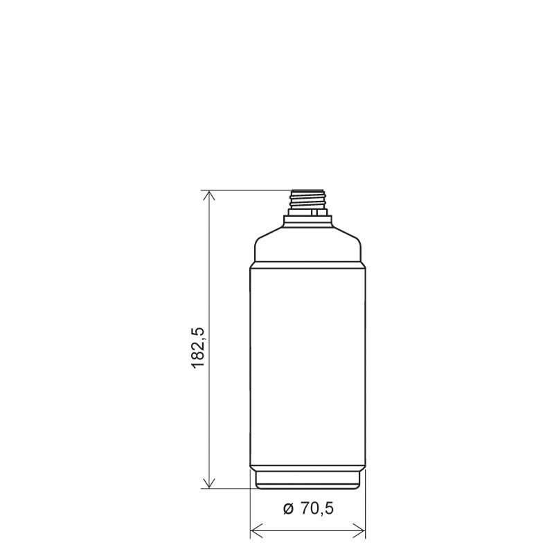 Flacone circolare 500 ml HDPE, collo 22 mm, linea BERNA (Disegno)