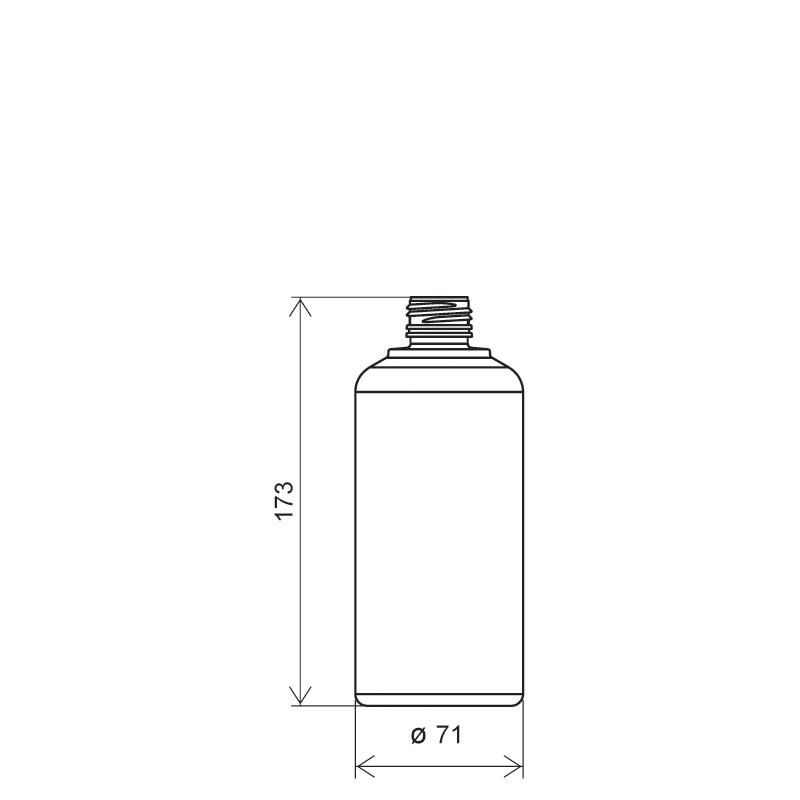 Flacone circolare per sciroppo 500 ml HDPE, collo 28 mm, linea BERNA (Disegno)