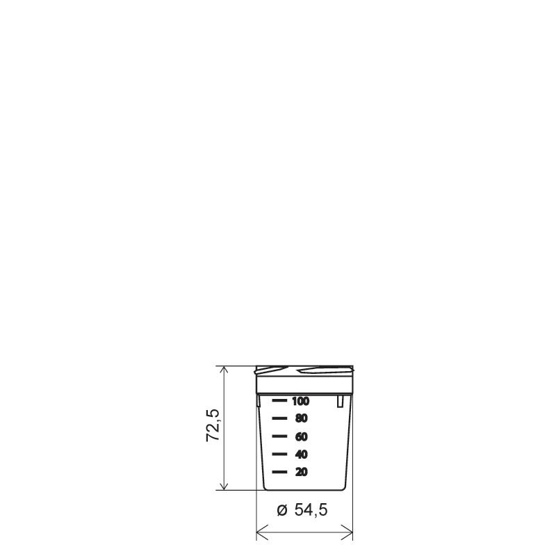 Flacone contenitore urine 100 ml PP, collo 56 mm, linea BASILEA (Disegno)