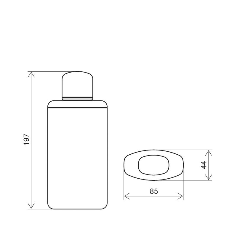 Flacone rettangolare 400 ml HDPE/PP, collo 20 mm, linea TOKYO (Disegno)
