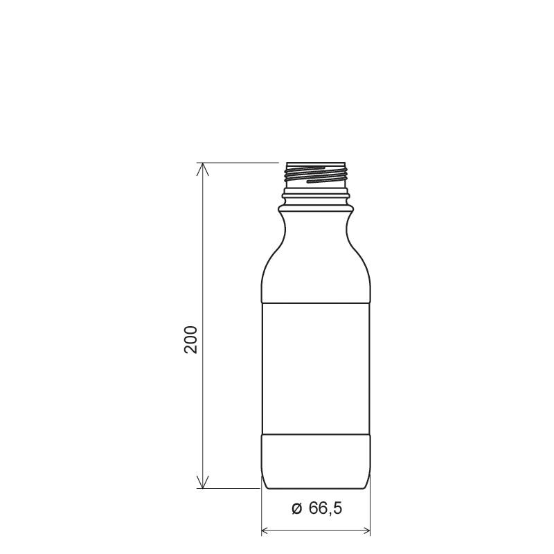 Flacone cilindrico 500 ml COEX-PP, collo 38 mm, linea MILOS (Disegno)