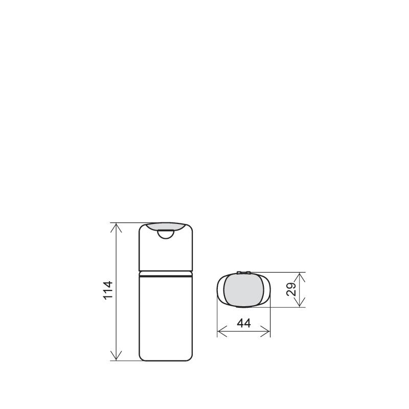Flacone rettangolare 40 ml HDPE/PP, collo snap-on, linea FRANCOFORTE (Disegno)