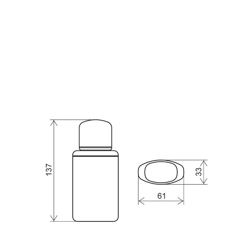 Flacone rettangolare 125 ml HDPE/PP, collo 24/410, linea TOKYO (Disegno)