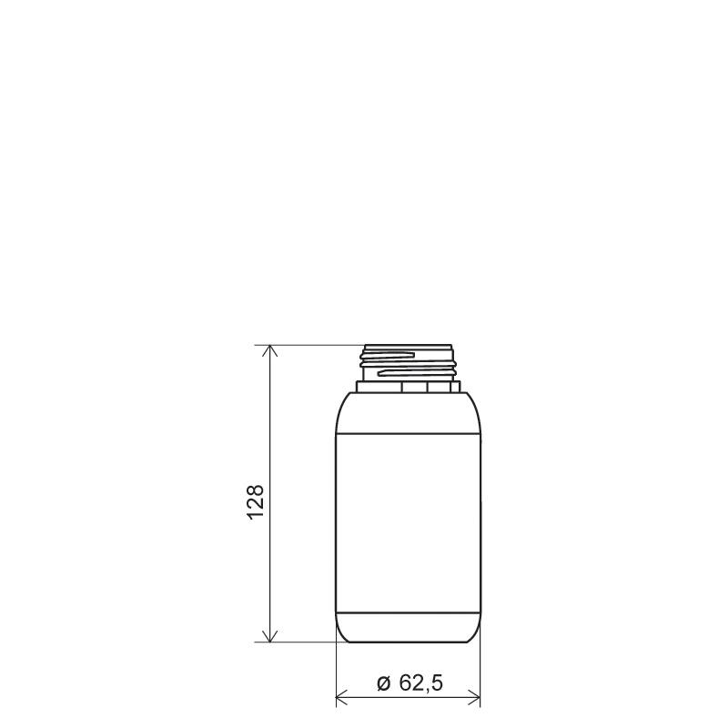 Flacone cilindrico 250 ml HDPE/COEX, collo 42TE, linea ANTIGUA (Disegno)