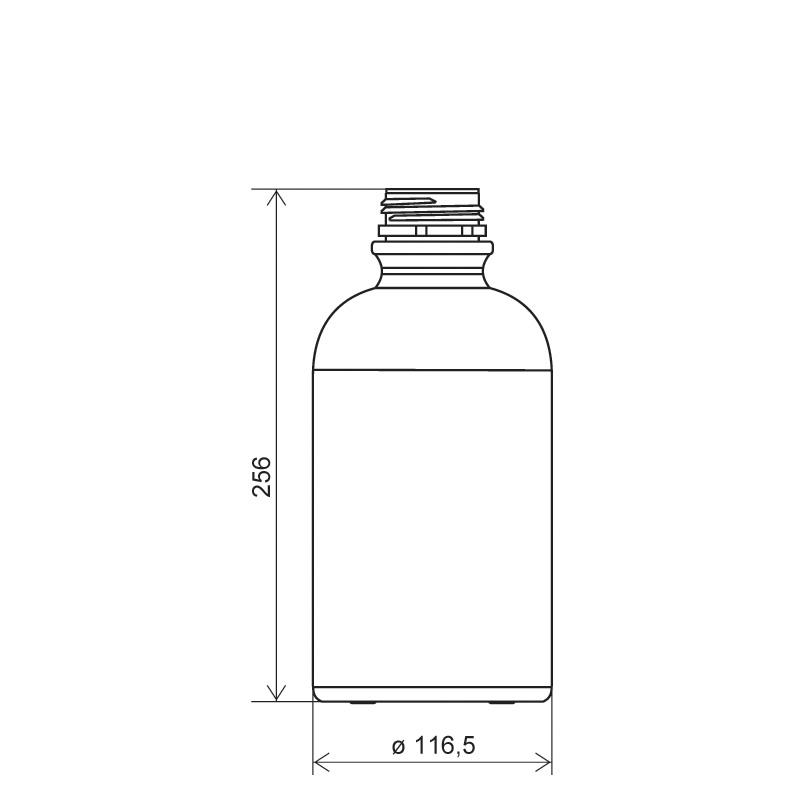 Cylindrical bottle 2 lt HDPE, neck DIN50TE, style ZANZIBAR (Draft)