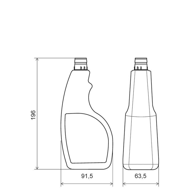 Sprayer 400 ml HDPE, collo snap-on, linea MAURITIUS (Disegno)
