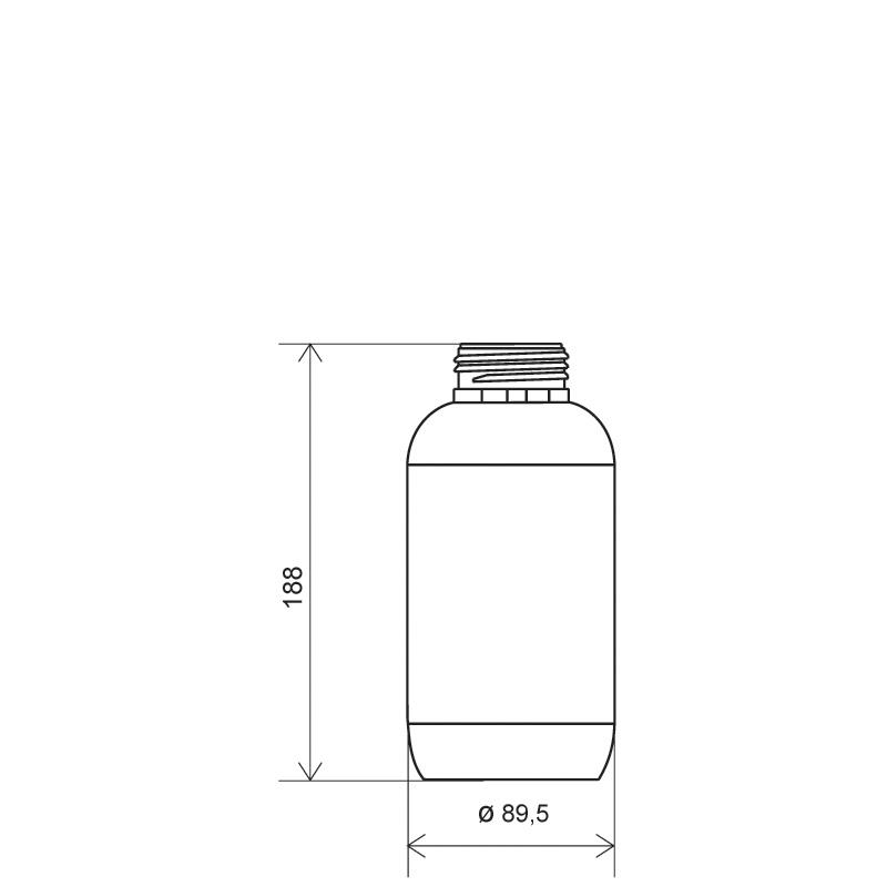 Cylindrical bottle 750 ml HDPE, neck DIN50TI, style ZANZIBAR (Draft)