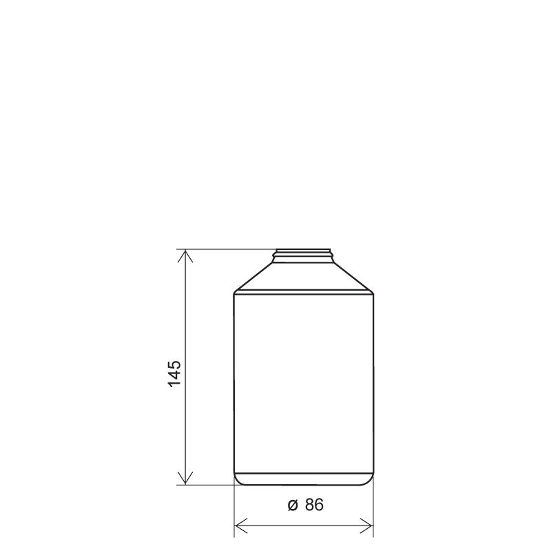 Powder bottle 600 ml HDPE, neck 30mm, style GOA (Draft)