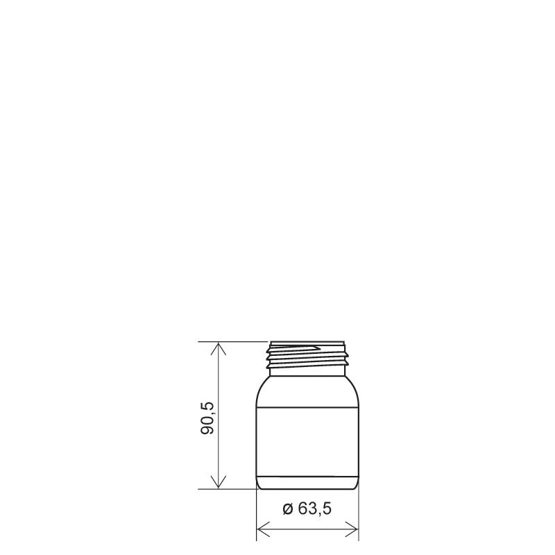 Flacone cilindrico 150 ml HDPE/COEX, collo DIN50TI, linea ZANZIBAR (Disegno)