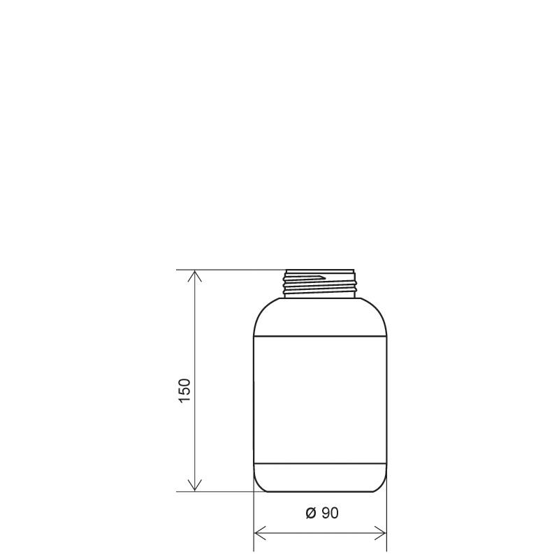 Cylindrical bottle 700 ml HDPE/COEX, neck DIN50TI, style ZANZIBAR (Draft)