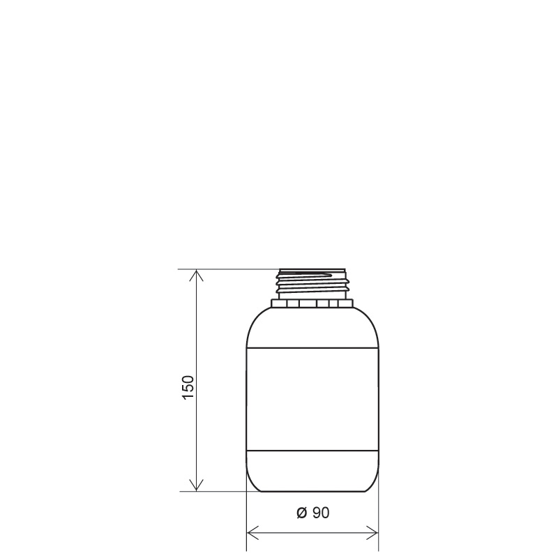 Cylindrical bottle 700 ml HDPE/COEX, neck DIN50TE, style ZANZIBAR (Draft)