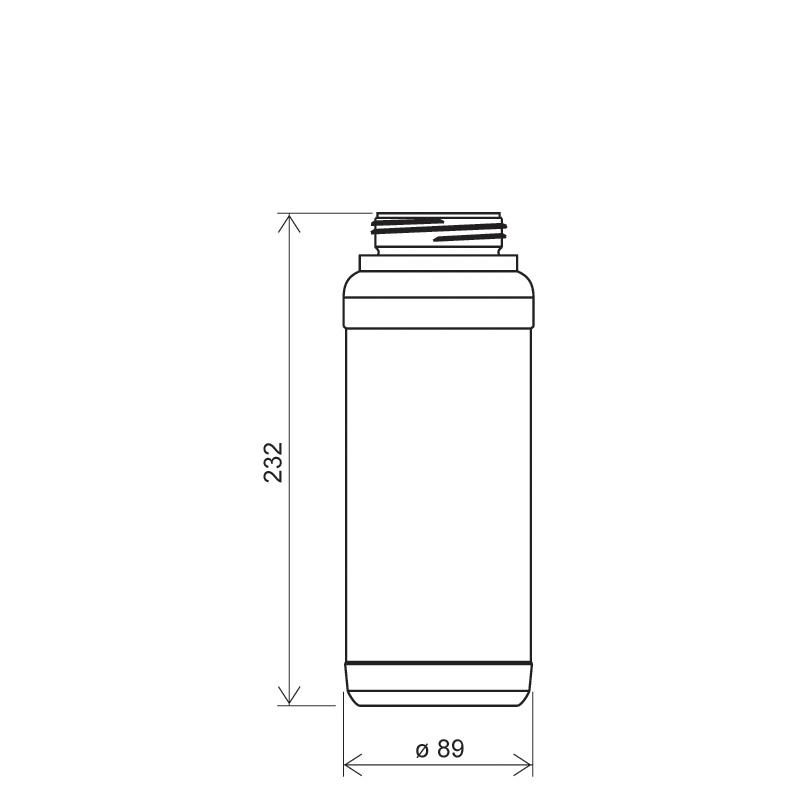 Flacone cilindrico 1 lt HDPE/COEX, collo DIN63, linea ZANZIBAR (Disegno)