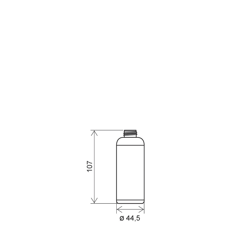 Flacone cilindrico 100 ml HDPE/COEX, collo DIN25, linea ZANZIBAR (Disegno)