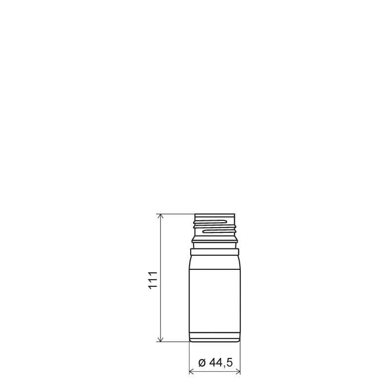 Cylindrical container 100 ml HDPE/COEX, neck DIN38, style ZANZIBAR (Draft)