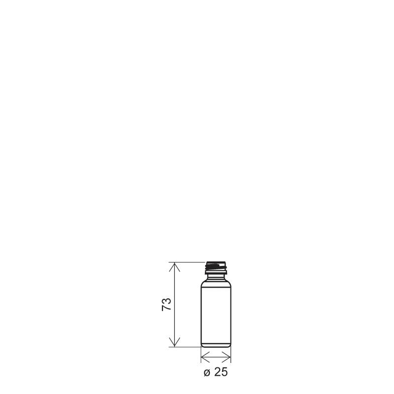 Cylindrical phial 20 ml HDPE, neck PFP18, style ZANZIBAR (Draft)