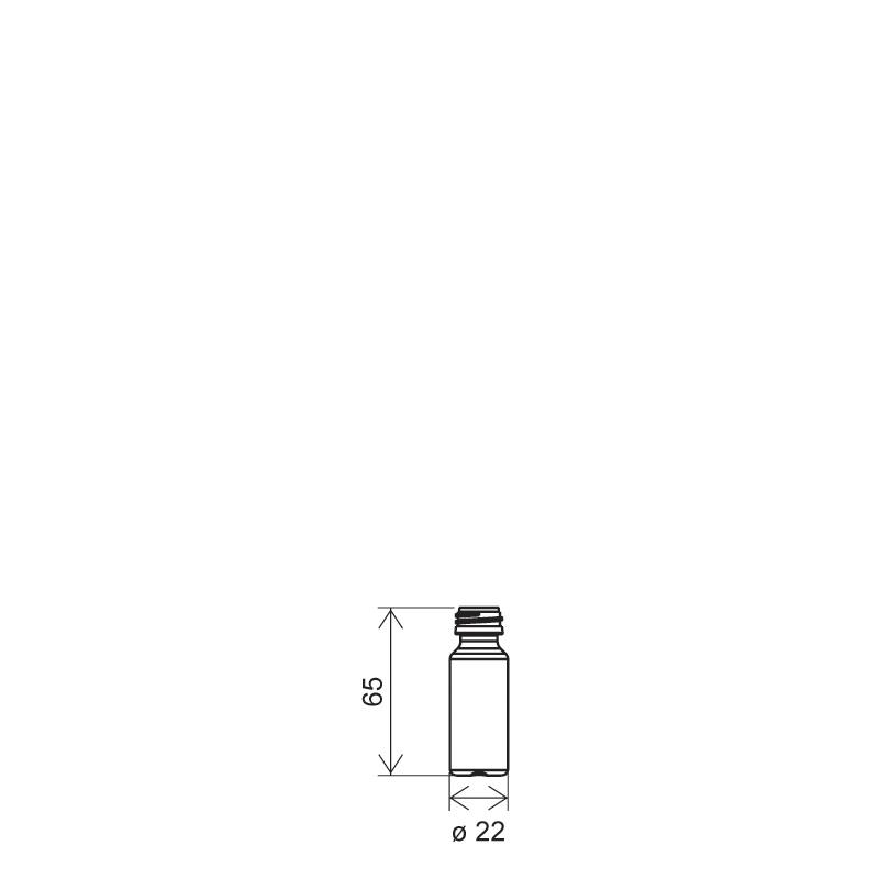 Cylindrical phial 10 ml HDPE, neck PFP18, style ZANZIBAR (Draft)