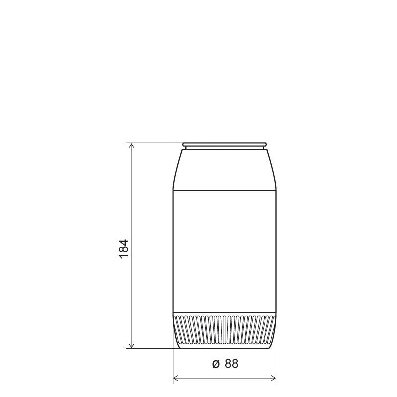Powder bottle 980 ml HDPE, neck 60mm, style GOA (Draft)