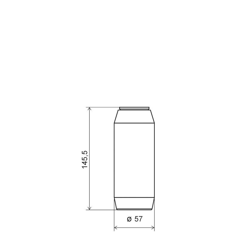 Powder bottle 300 ml HDPE, neck 45mm, style GOA (Draft)