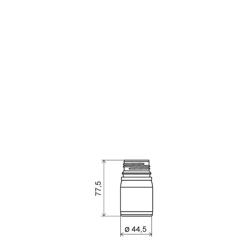 Cylindrical container 50 ml HDPE/COEX, neck DIN38, style ZANZIBAR (Draft)