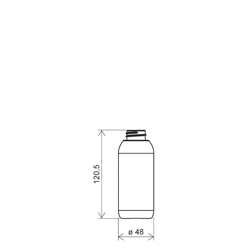 Cylindrical bottle150 ml HDPE/COEX, neck 28 mm, style ZANZIBAR (Draft)
