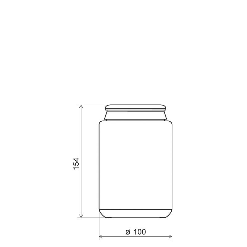 Contenitore cilindrico 1 lt HDPE, collo snap-on, linea AMIRANTES (Disegno)