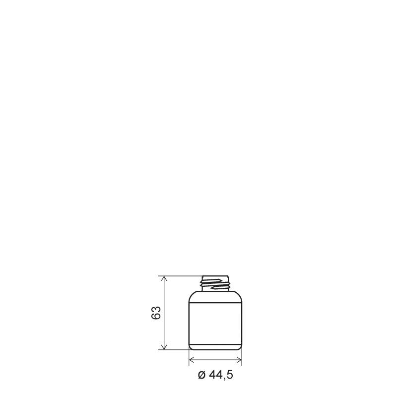 Cylindrical bottle 50 ml HDPE/COEX, neck DIN25, style ZANZIBAR (Draft)