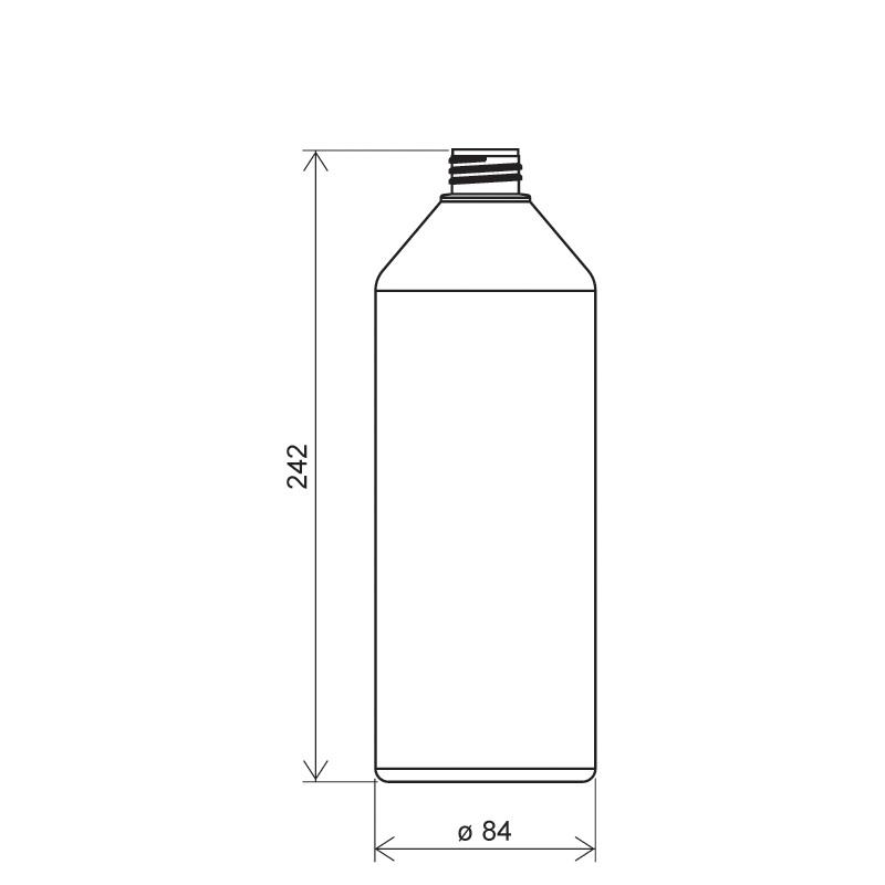 Flacone cilindrico 1lt HDPE/COEX, collo 28/410, linea ANTIGUA (Disegno)