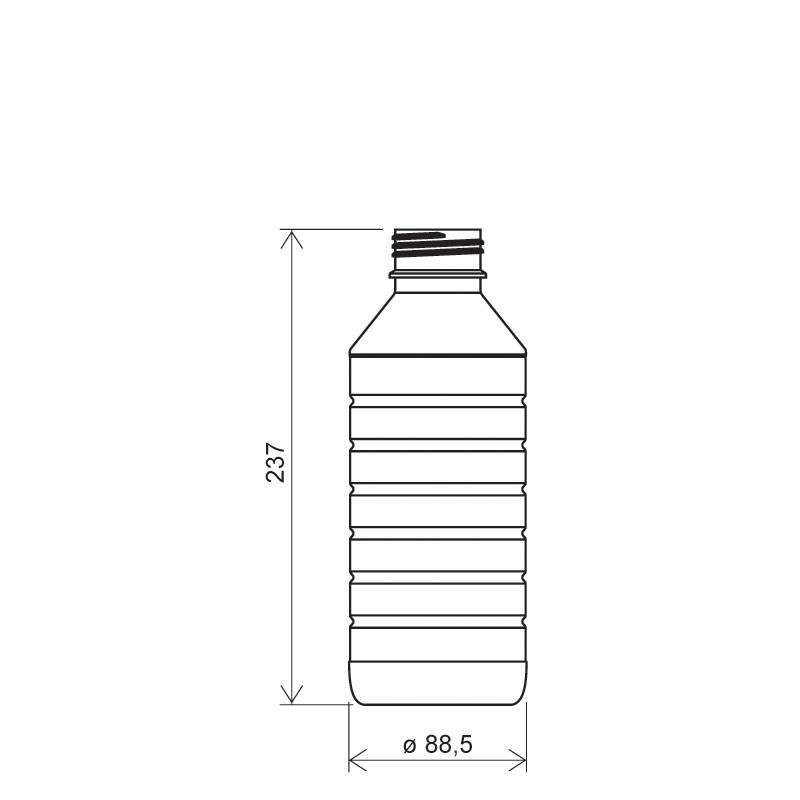 Flacone cilindrico 1 lt PET, collo DIN45, linea ZANZIBAR (Disegno)