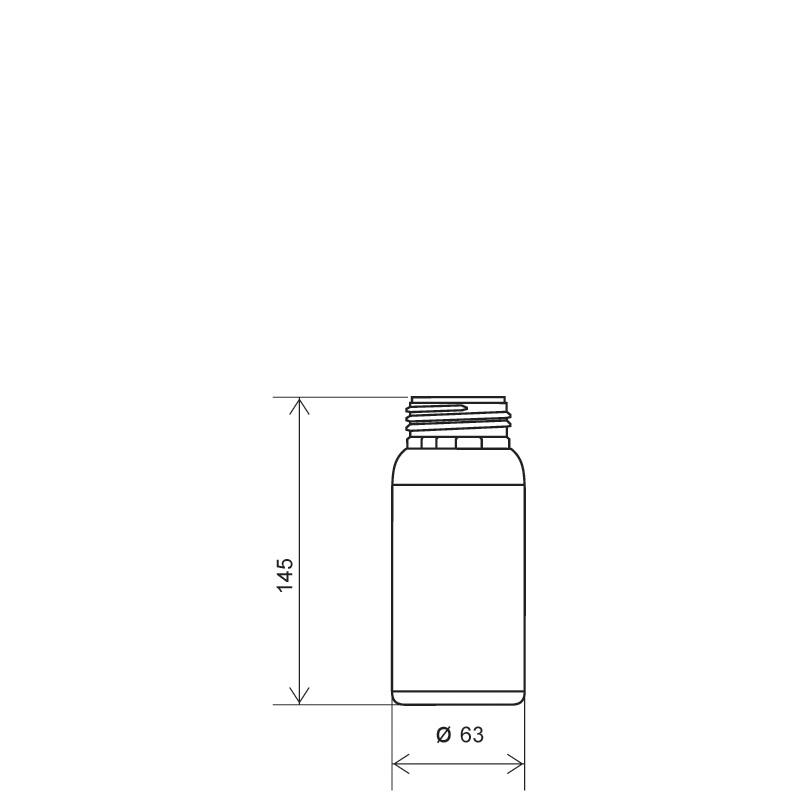 Cylindrical bottle 350 ml HDPE/COEX, neck DIN50TE, style ZANZIBAR (Draft)