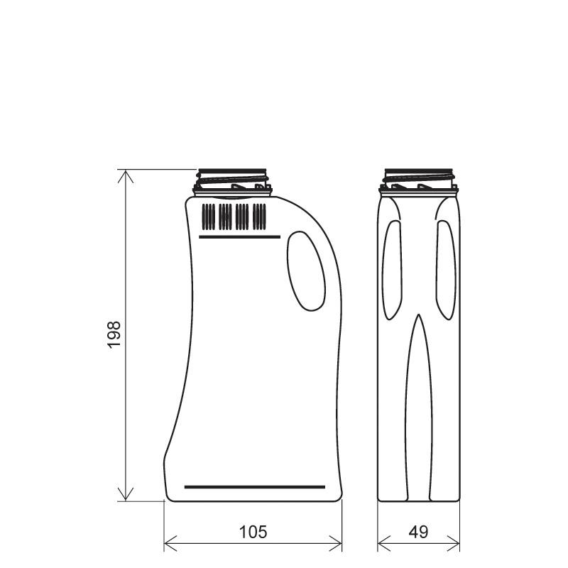 Flacone sagomato 500 ml HDPE, collo 42mm, linea FLOREANA (Disegno)