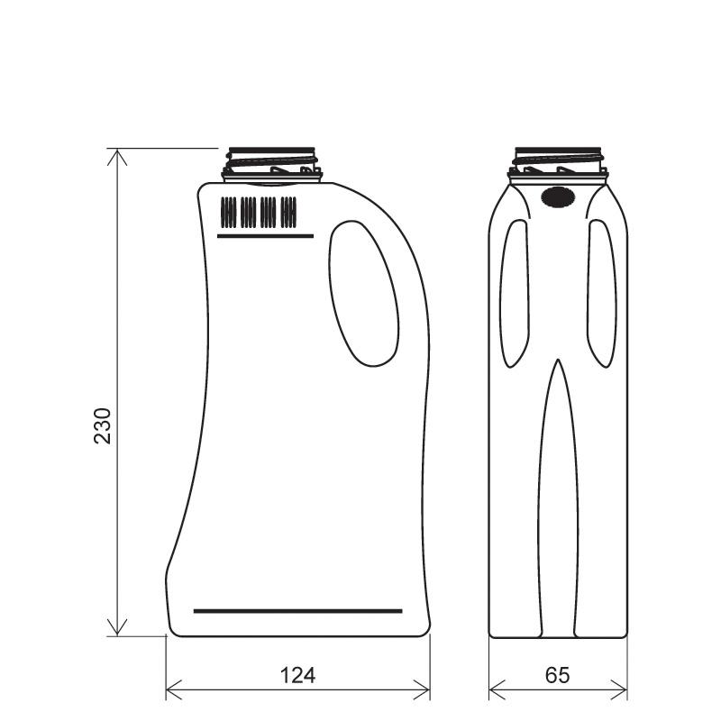 Flacone sagomato 1 lt HDPE, collo 42mm, linea FLOREANA (Disegno)