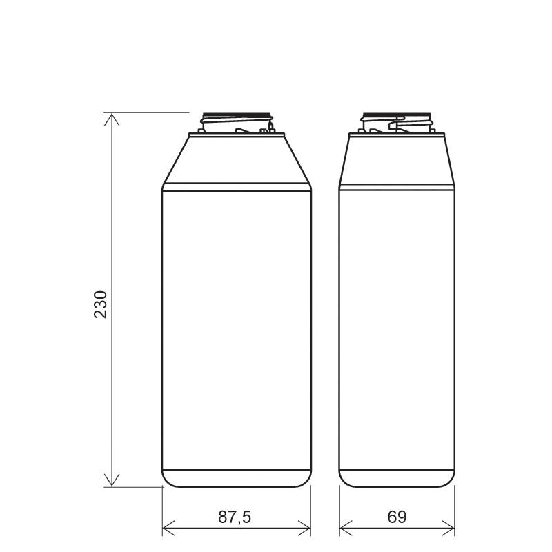 Flacone rettangolare 1 lt HDPE, collo 42mm, linea FLOREANA (Disegno)