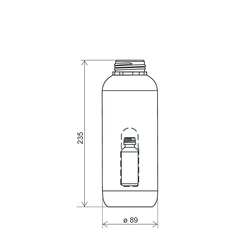 Cylindrical bottle with hole 1lt HDPE/COEX, neck DIN50TI, style ZANZIBAR (Draft)