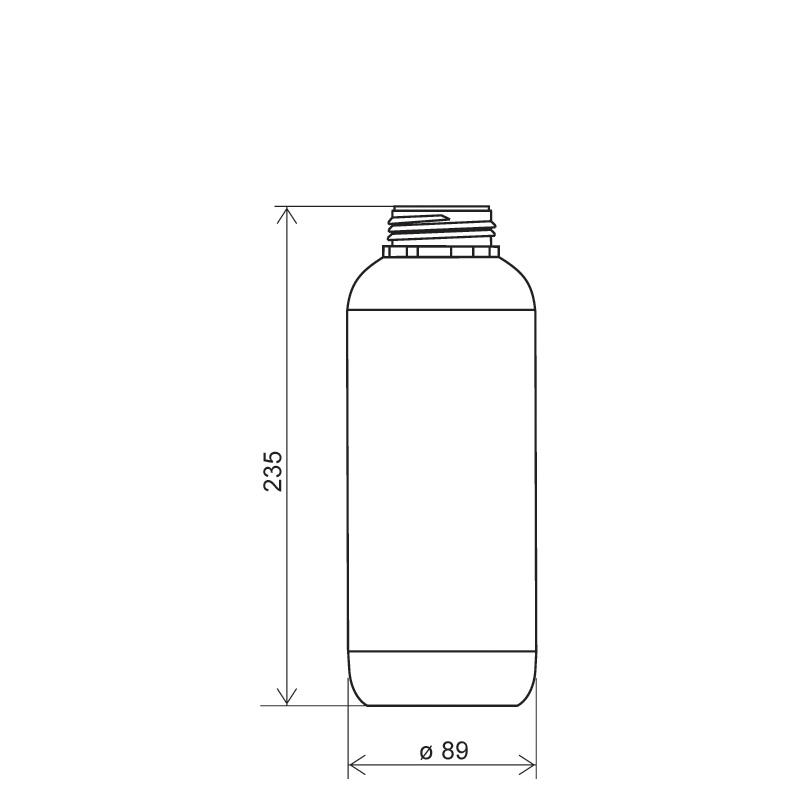 Flacone cilindrico 1 lt HDPE/COEX, collo DIN50TI, linea ZANZIBAR (Disegno)