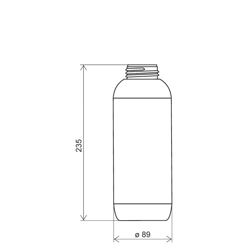 Cylindrical bottle 1 lt HDPE/COEX, neck DIN50TI, style ZANZIBAR (Draft)
